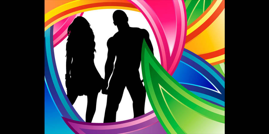 Love Relationships: Black silhouette of a couple encircled by multi-colors