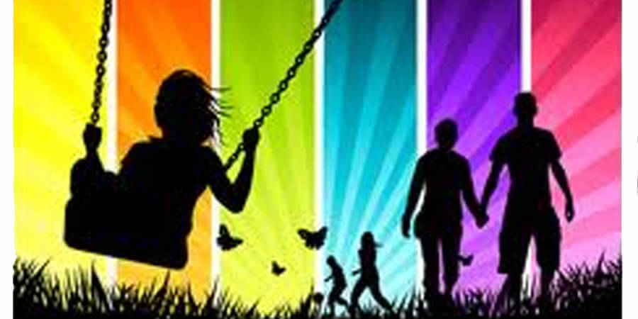 Relationship Coaching: Shadows of 2 couples and a girl swinging with rainbow background