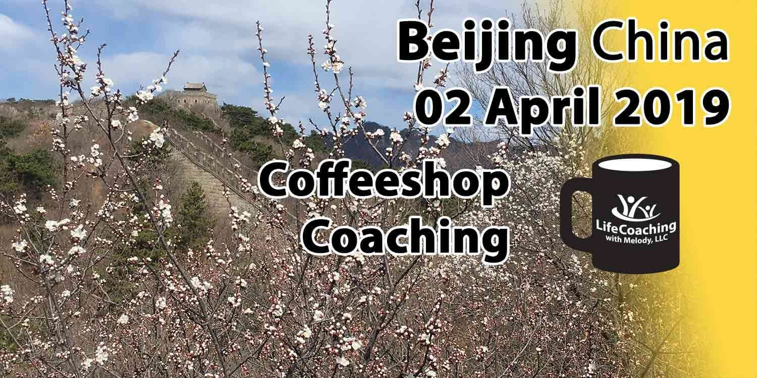 Image of blossoms on The Great Wall of China with words Coffeeshop Coaching, Beijing China, 02 April 2019