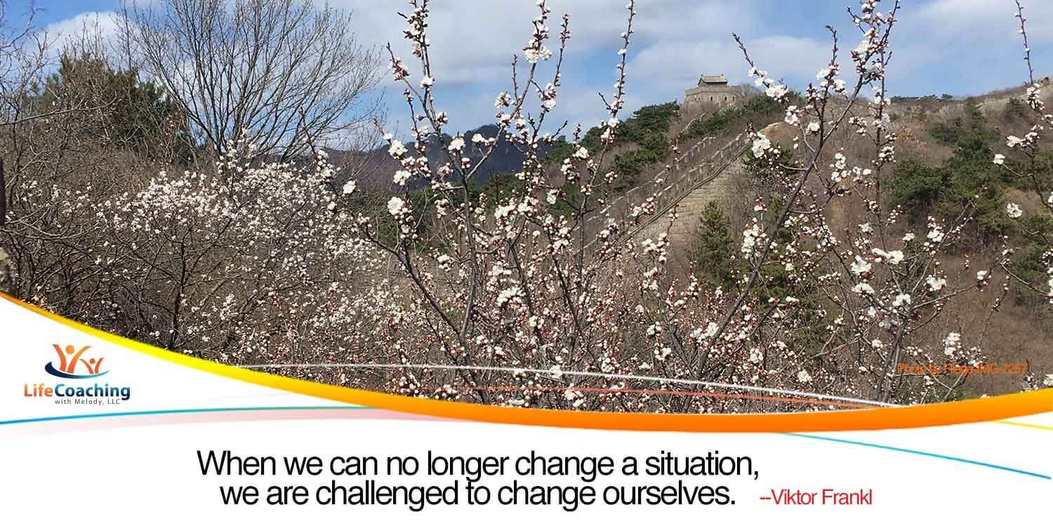 "Image of blossoms by The Great Wall of China with quote ""When we can no longer change a situation, we are challenged to change ourselves."" --Viktor Frankl"