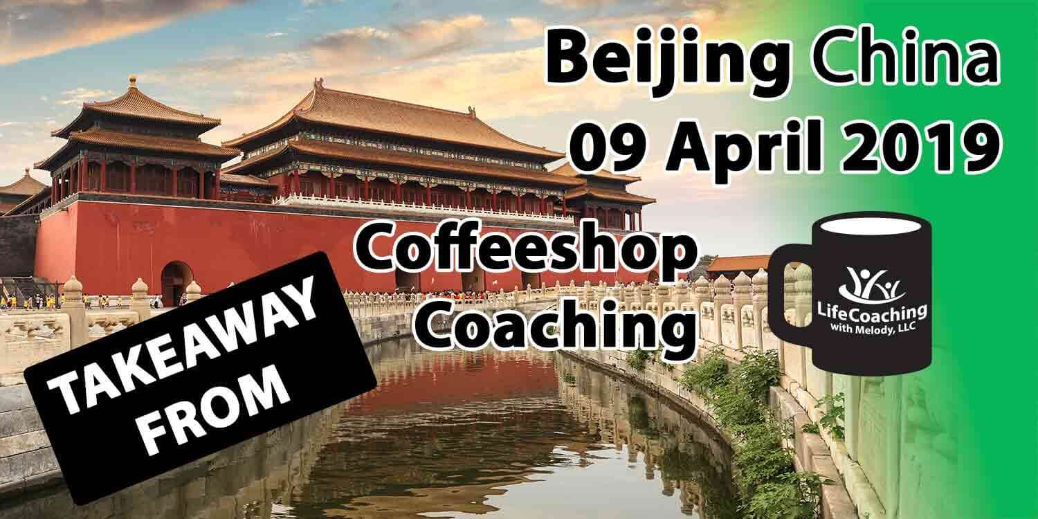 Image of Forbidden City by the river with Words Coffeeshop Coaching Beijing China 09 April 2019 Takeaway