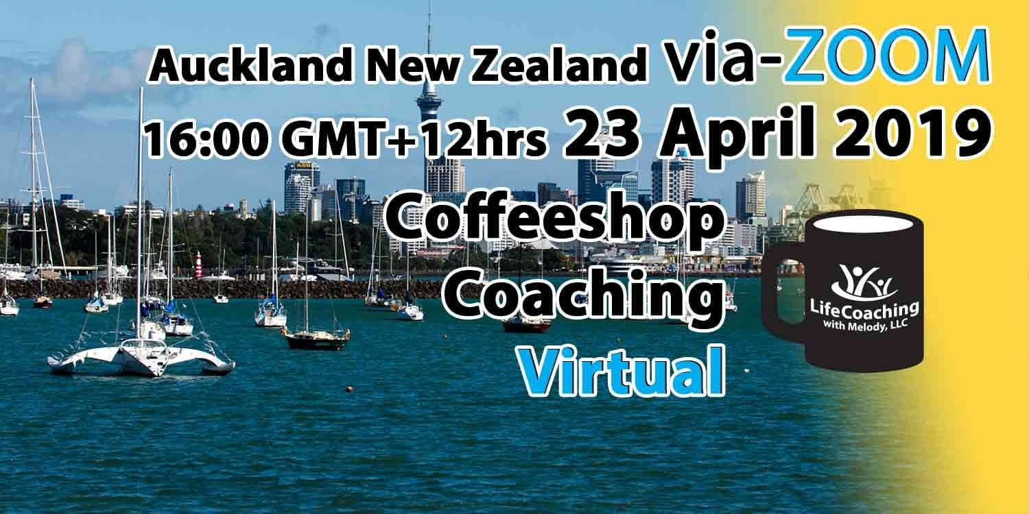 Image Auckland New Zealand Harbour with words Virtual Coffeeshop Coaching via ZOOM 23 April 2019