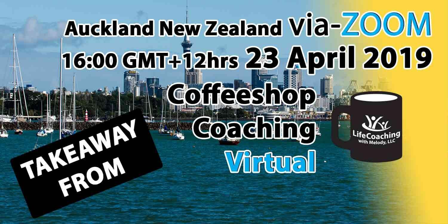Image Auckland New Zealand Harbour with words Takeaway From Virtual Coffeeshop Coaching via ZOOM 23 April 2019