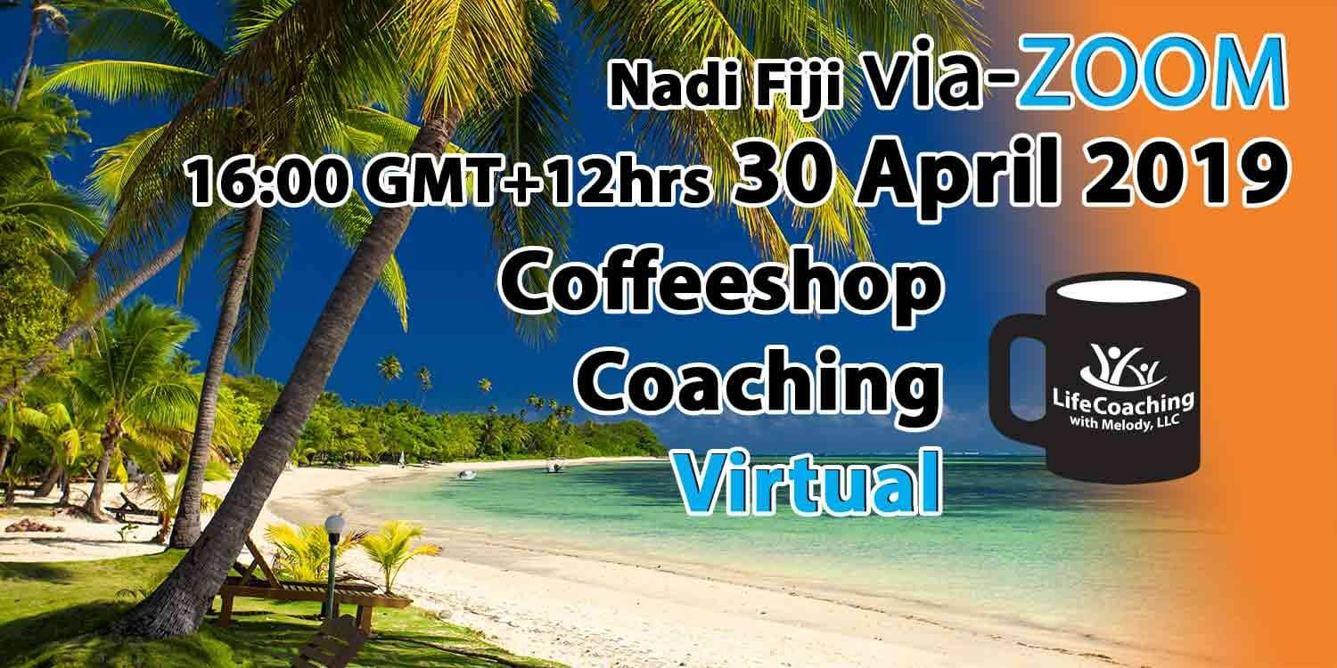 Image of a beach in Fiji with words Virtual Coffeeshop Coaching Nadi Fiji 20 April 2019