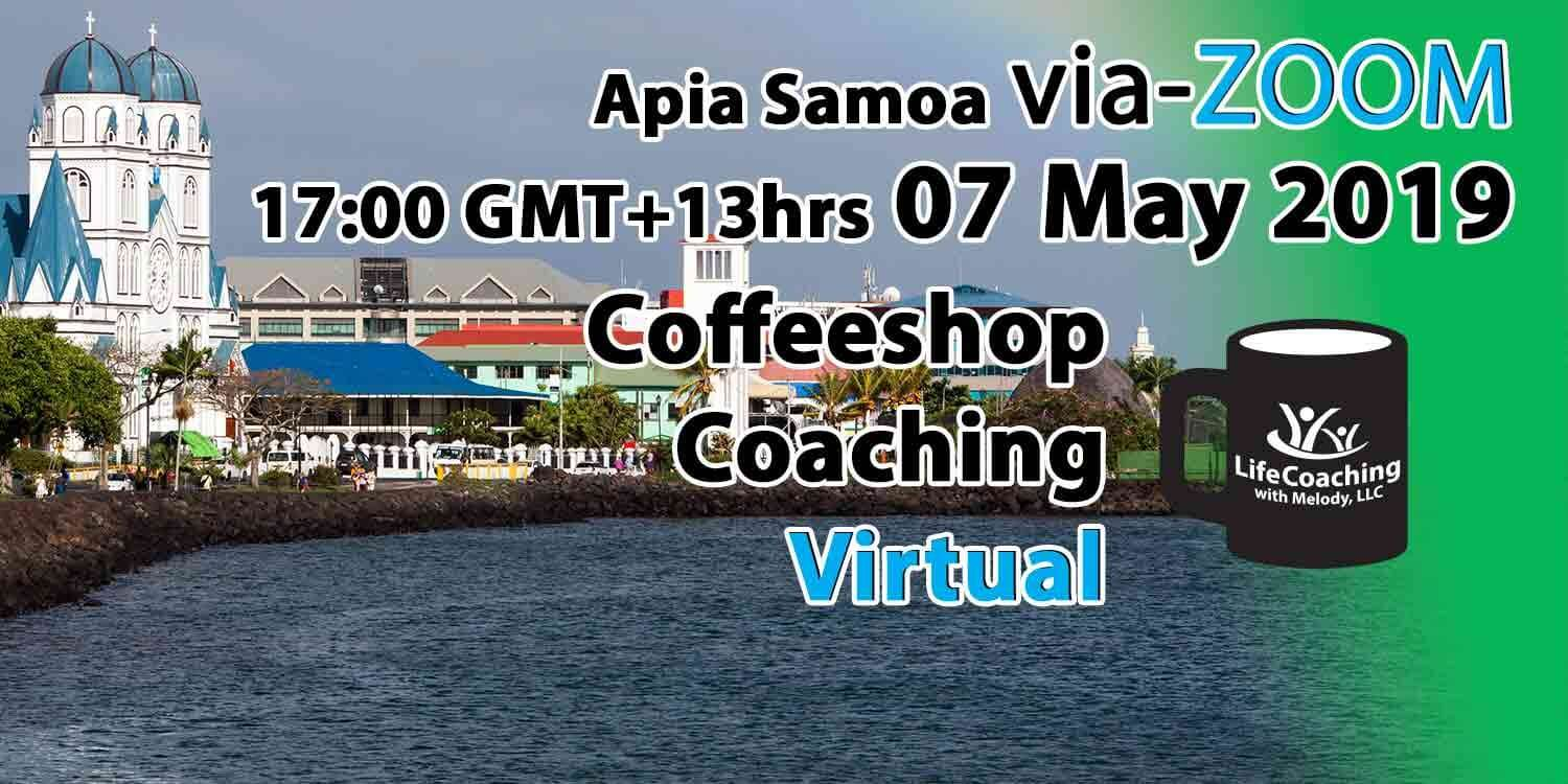 Image Apia Samoa Harbour with words Virtual Coffeeshop Coaching Apia Samoa 07 May 2019