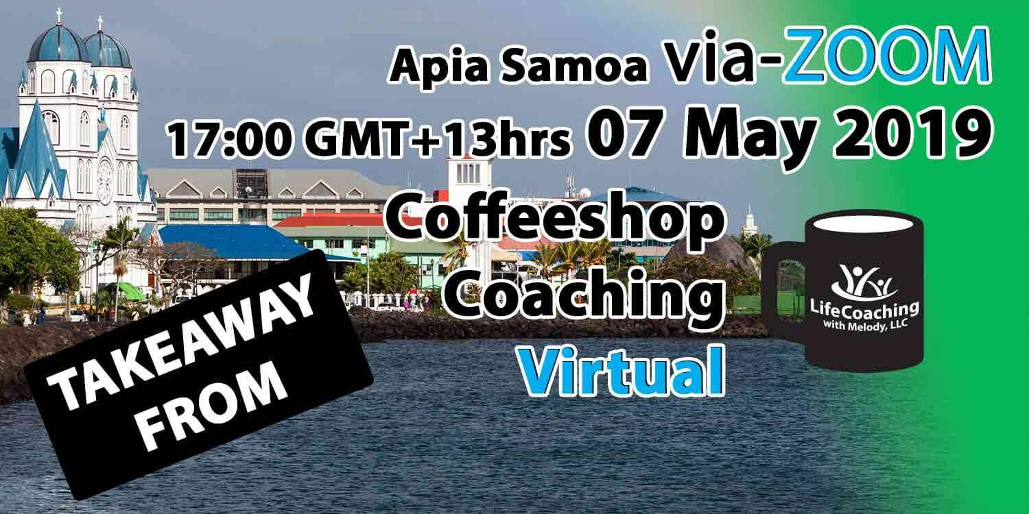Image Apia Samoa Harbour with words Takeaway From Virtual Coffeeshop Coaching Apia Samoa 07 May 2019