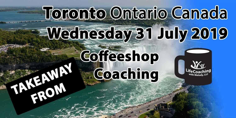 Image of Niagara Falls Canada with words Coffeeshop Coaching Takeaway from Toronto, Ontario Canada Wednesday 31 July 2019