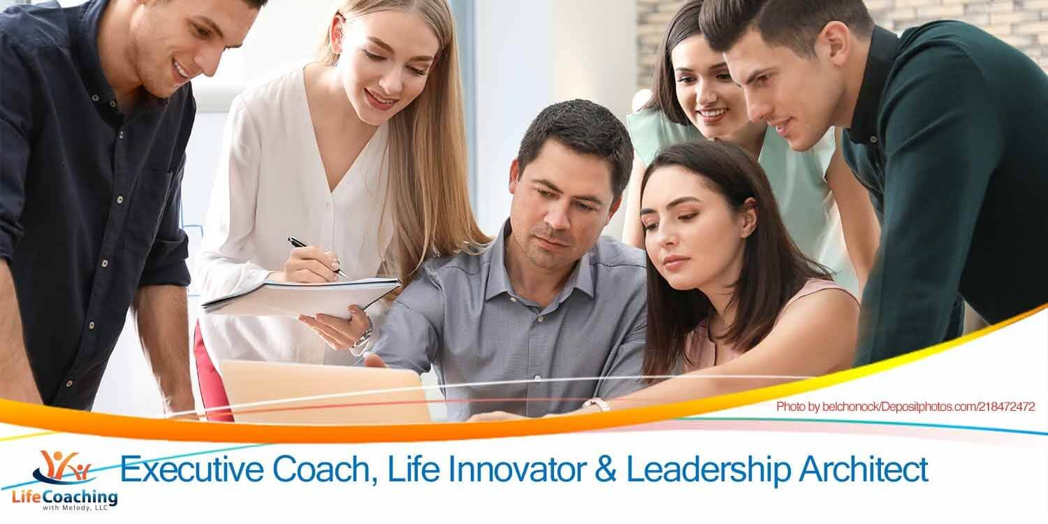 Image of Group of people with business trainer at management seminar with blog post title Lead towards courage and values despite fear