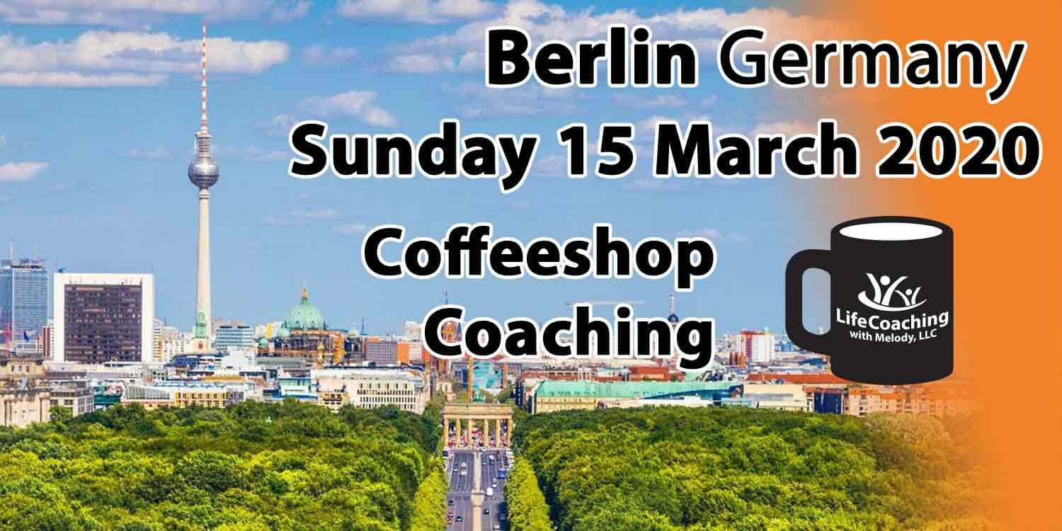 Image of overview of Berlin Germany with words Berlin Germany Sunday 15 March 2020 Coffeeshop Coaching